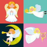 Christmas holiday set of flying angel with wings and gifts box or stars, with moon like symbol in Christian religion or Royalty Free Stock Photography