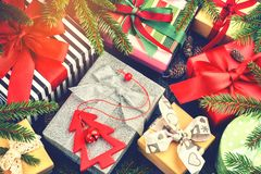 Christmas holiday setting with presents in boxes royalty free stock photography