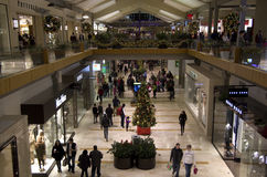 Christmas holiday shopping mall black friday. People were shopping on Black Friday night in Bellevue Square near Seattle Stock Photography
