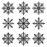 Christmas holiday snowflake silhouette set vector isolated. Christmas snowflake ice crystals silhouette set vector isolated on white background stock illustration