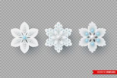 Decorative 3d snowflakes for Christmas design. Christmas holiday snowflakes with shadow and pearls. Decorative 3d elements for New Year design. Isolated on vector illustration