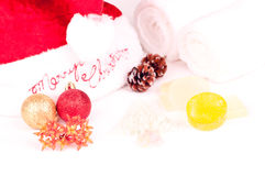 Christmas holiday spa concept with decorations Stock Images