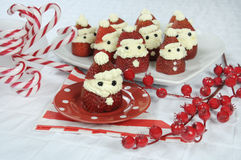 Christmas holiday Strawberry Santas Stock Images