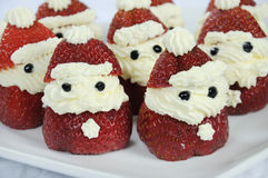 Christmas holiday Strawberry Santas Stock Photo