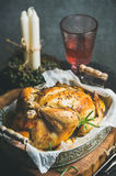 Christmas holiday table set with oven roasted whole chicken Stock Photos