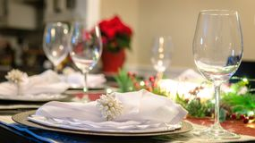 Christmas Holiday Table Setting Closeup. Christmas dinner table closeup on one place setting stock image