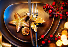 Christmas Holiday Table Setting Stock Images