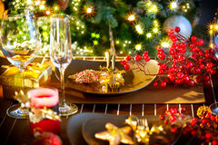 Christmas Holiday Table Setting Royalty Free Stock Images