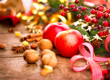 Christmas holiday table settings Royalty Free Stock Images