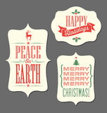 Christmas Holiday tags vintage type design elements Royalty Free Stock Photography