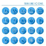 Christmas holiday thin line icons set with long shadow. New Year celebration outline collection. Xmas winter elements. Vector simple flat linear design. Trendy Stock Images