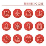 Christmas holiday thin line icons set with long shadow. New Year celebration outline collection. Xmas winter elements. Vector simple flat linear design. Trendy Royalty Free Stock Images