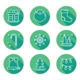 Christmas holiday thin line icons set with long shadow. New Year celebration outline collection. Xmas winter elements. Vector simple flat linear design. Trendy Royalty Free Stock Photography