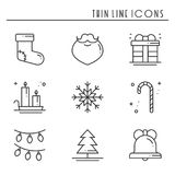 Christmas holiday thin line icons set. New Year celebration outline collection. Basic xmas winter elements. Vector. Simple flat linear design. Modern trendy Stock Images