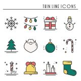 Christmas holiday thin line icons set. New Year celebration outline collection. Basic xmas winter elements. Vector. Simple flat linear design. Modern trendy Royalty Free Stock Photos