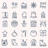 Christmas holiday thin line icons set. New Year celebration outline collection. Basic xmas winter elements. Vector. Simple flat linear design. Modern trendy Stock Image