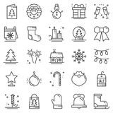 Christmas holiday thin line icons set. New Year celebration. Outline collection. Basic xmas winter elements. Vector simple flat linear design. Modern trendy Royalty Free Stock Photos