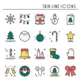 Christmas holiday thin line icons set. New Year celebration outline collection. Basic xmas winter elements. Vector. Simple flat linear design. Modern trendy Stock Photography
