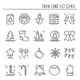 Christmas holiday thin line icons set. New Year celebration outline collection.. Christmas holiday thin line icons set. New Year celebration outline collection Royalty Free Stock Photography