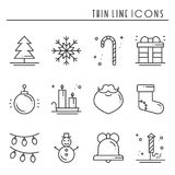 Christmas holiday thin line icons set. New Year celebration outline collection.. Christmas holiday thin line icons set. New Year celebration outline collection Royalty Free Stock Images