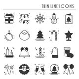 Christmas holiday thin line silhouette icons set. New Year celebration outline collection. Basic xmas winter elements Stock Photos