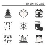 Christmas holiday thin line silhouette icons set. New Year celebration outline collection. Basic xmas winter elements. Vector simple flat linear design. Trendy Stock Images