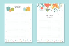 Christmas holiday to do lists, cute notes with winter  ill Royalty Free Stock Photos