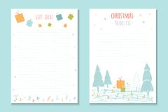 Christmas holiday to do lists, cute notes with winter  ill Royalty Free Stock Photography