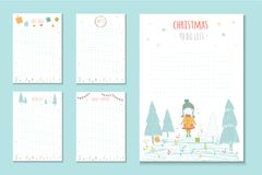 Christmas holiday to do lists, cute notes with winter  ill Royalty Free Stock Photo