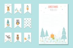 Christmas holiday to do lists, planner, cute notes with winter v Royalty Free Stock Photo