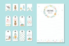 Christmas holiday to do lists, planner, cute notes with winter v Royalty Free Stock Image