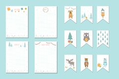 Christmas holiday to do lists, planner, cute notes with winter v Stock Photos