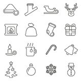 Christmas Holiday & Tradition Icons Thin Line Vector Illustration Set. This image is a vector illustration and can be scaled to any size without loss of Stock Image
