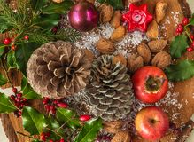 Christmas holiday tray with various fruits, nuts, almonds, cones stock photography