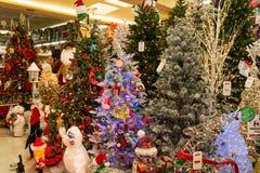 Christmas Holiday Tree Display at Retail Store Royalty Free Stock Photo