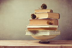 Christmas holiday tree made from books. Alternative Christmas tree Royalty Free Stock Photography