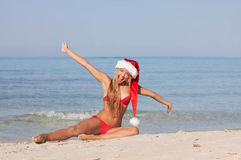 Christmas holiday vacation. At the beach Royalty Free Stock Images