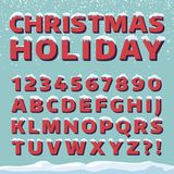 Christmas holiday vector font. Retro 3d letters with snow caps. Christmas font with snow and ice, abc and digit illustration Royalty Free Stock Photo