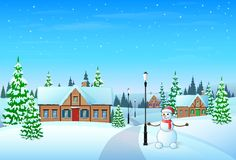 Christmas holiday village house winter snow,. Snowman and pine tree gift card vector illustration Royalty Free Stock Photo