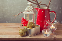 Christmas holiday vintage decorations on wooden table Royalty Free Stock Images