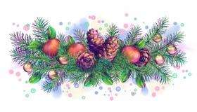 Christmas Holiday Watercolor Border Garland Royalty Free Stock Photography