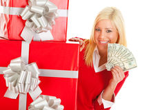 Christmas: Holiday Woman Holds Up Money Fan Royalty Free Stock Photography