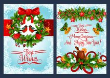 Christmas holiday wreath with Xmas bell banner. Christmas holiday wreath greeting banner set with frame of snowflake. New Year festive garland with Xmas tree and Stock Images