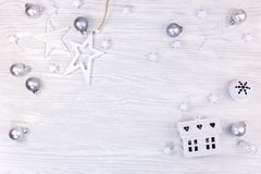 christmas holidays background with small toy house and decorations royalty free stock image
