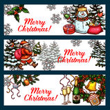 Christmas holidays banner set for festive design. Christmas and New Year winter holidays banner set. Snowman with gift, Santa Claus with xmas tree, holly berry Stock Photography