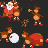 Christmas holidays celebration, Santa Claus spending time with reindeer royalty free illustration