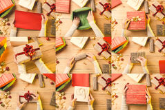 Christmas and Holidays collage. Presents. stock photography