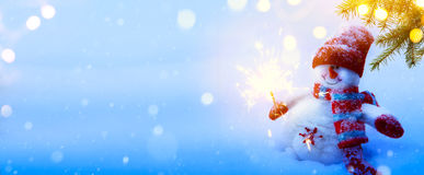 Christmas holidays composition on blue snow background with copy. Space for your text Stock Photography