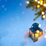 Christmas holidays composition on Blue snow background with copy Royalty Free Stock Photo