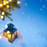 Christmas holidays composition on Blue snow background with copy Royalty Free Stock Image
